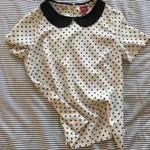 Polka Dot Pan Collar Shirt